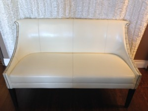 Ivory Sweetheart Leather Loveseat